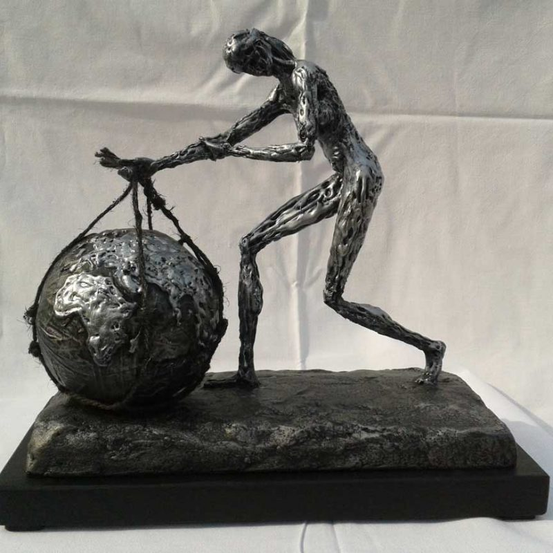 The woman with the globe